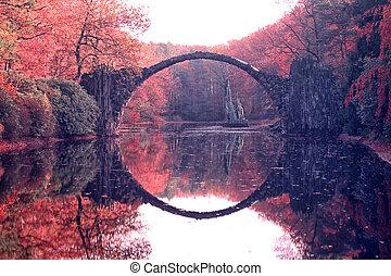 arqueie ponte, em, kromlau., espantoso, lugar, em, alemanha