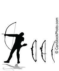arqueiro, jogo, arcos