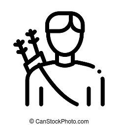 arqueiro, linha, desporto, homem, vetorial, silueta, magra, ícone