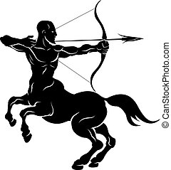 arqueiro, stylised, ilustração, centauro