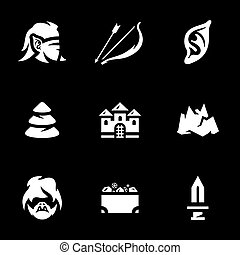 arqueiro, vetorial, jogo, duendes, icons.