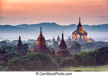 arqueológico, bagan, myanmar, zona