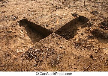 arqueológico, escavação