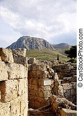 arqueológico, escavação, local, em, apollo, templo, corinth,...