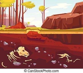 arqueológico, excavaciones, natural, paisaje
