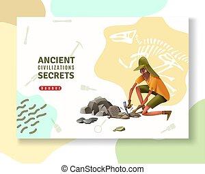 arqueología, antiguo, bandera, secretos