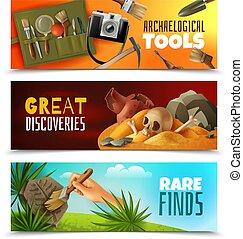 arqueología, banderas, conjunto, horizontal
