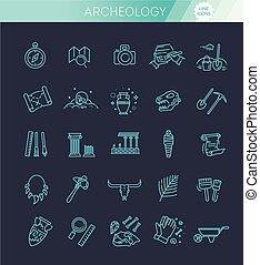 arqueologia, linha, jogo, ícones