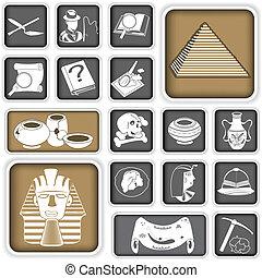 arqueologia, quadrado, ícones