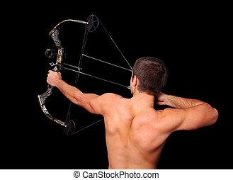 arquero, flecha, arco