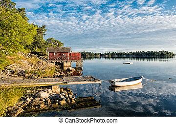 arquipélago, Báltico, mar, costa