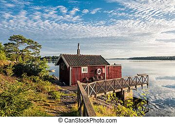 arquipélago, ligado, a, mar báltico, costa