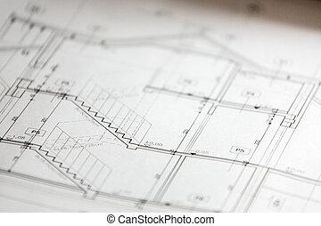 arquitectónico, dibujos, de, casa nueva