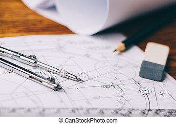 arquitectónico, drawings., arquitectónico, rollos, y, un dibujo, instrumentos, en, el, worktable., compás de dibujo, plans.