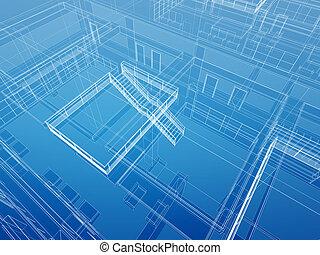 arquitectónico, interior, plano de fondo, alambró
