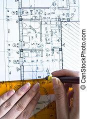 arquitectónico, plan, projec