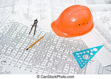 arquitectónico, plan, y, herramientas