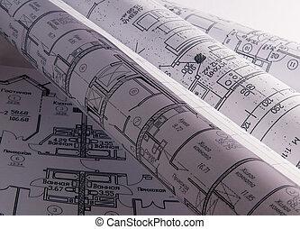 arquitectónico, planes, para, el, rollo