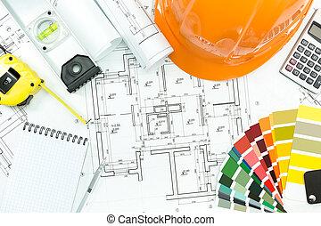 arquitectónico, plano de fondo, con, trabajo, herramientas