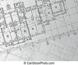 arquitectónico, plano de fondo, dibujo, técnico, cartas