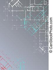 arquitectónico, plano de fondo, vertical