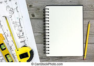 arquitectónico, proyecto, con, herramientas, y, bloc, en, gris, escritorio de madera