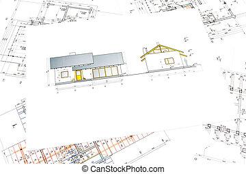 arquitectónico, proyecto, de, casa nueva