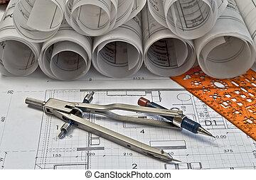 arquitectónico, rollos, y, planes