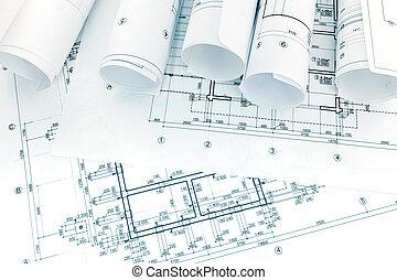 arquitectónico, y, ingeniería, dibujos, con, rollos, de, planos