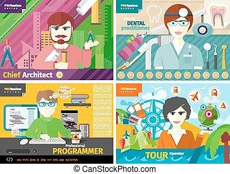 arquitecto, agente de viajes, dentista, programador