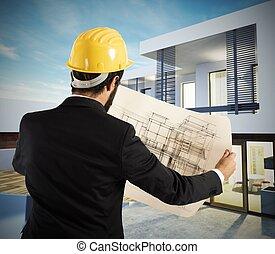 arquitecto, chalet, proyecto