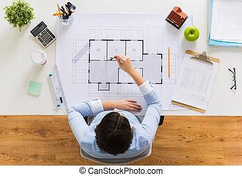 arquitecto, con, compás, medición, cianotipo