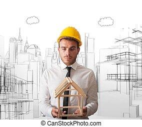 arquitecto, con, edificio, proyecto