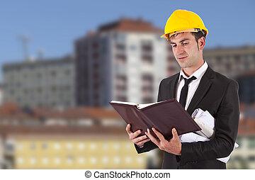 arquitecto, con, el, construcción, planes