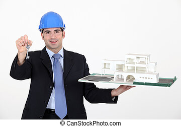 arquitecto, con, llaves, a, un, nuevo construye