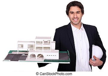arquitecto, con, modelo