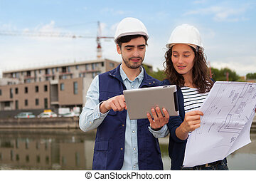 arquitecto, construcción, mujer, supervisor, sitio