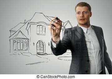 arquitecto, dibujo, casa, desarrollo, bosquejo