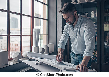 arquitecto, dibujo, maduro