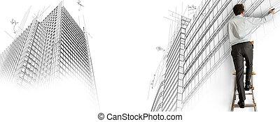 arquitecto, dibujo, un, proyecto