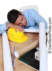 arquitecto, dormir trabajo