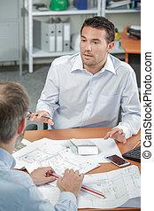 arquitecto, en, un, reunión