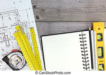 arquitecto, espacio de trabajo, con, cianotipo, herramientas, bloc, y, lápiz
