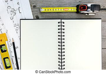 arquitecto, espacio de trabajo, con, cianotipo, herramientas, bloc, y, lápiz, en, gris, madera