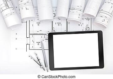arquitecto, espacio de trabajo, con, cianotipo, rollos, tableta, y, dibujo, instrumentos