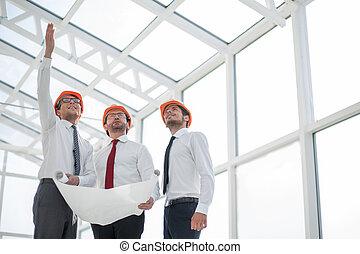 arquitecto, exposiciones, el, cliente, un, nuevo, edificio
