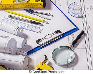 arquitecto, herramientas, en, cianotipo
