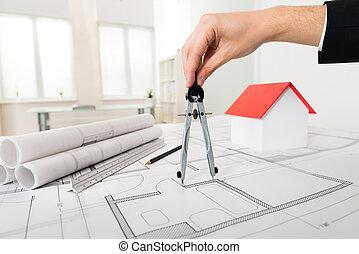 arquitecto, manos, tenencia, compás, en, cianotipo
