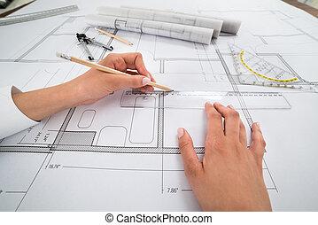 arquitecto, manos, trabajo encendido, cianotipo