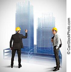 arquitecto, moderno, edificios